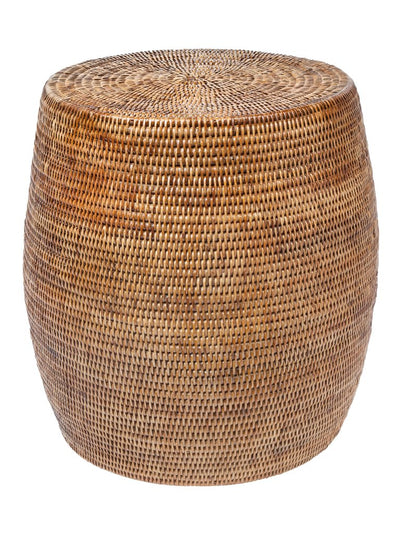 La Jolla Round Rattan Stool and Side Table