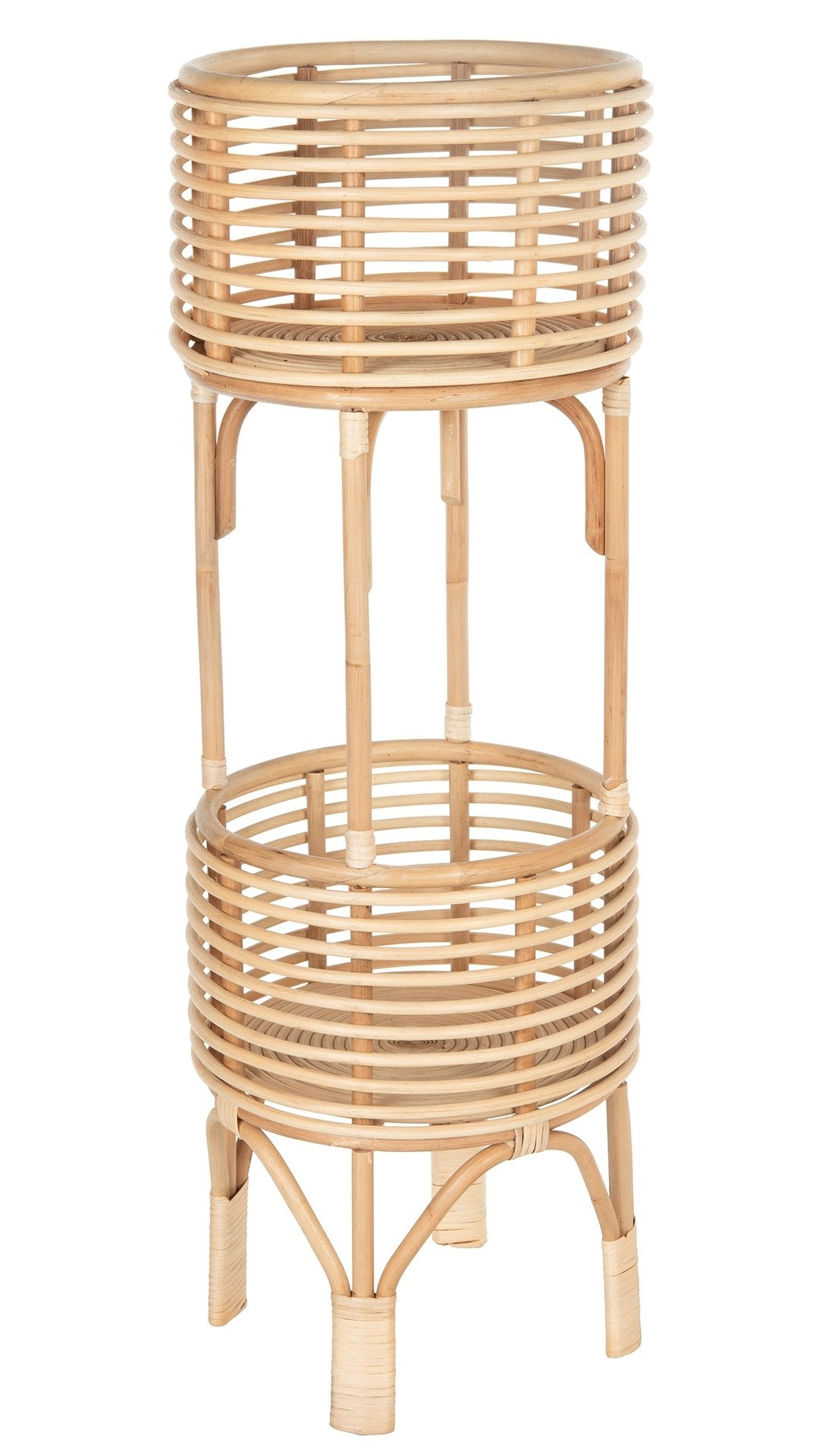 Rattan Indoor Two Tier Plant Stand Natural
