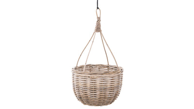 Kobo Rattan Hanging Basket and Planter, Brown-Gray