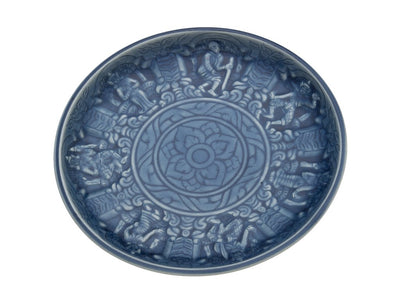 Relief Blue Celadon Dinner Plate, Set of 2