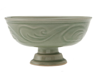 Painted Celadon Footed Bowl
