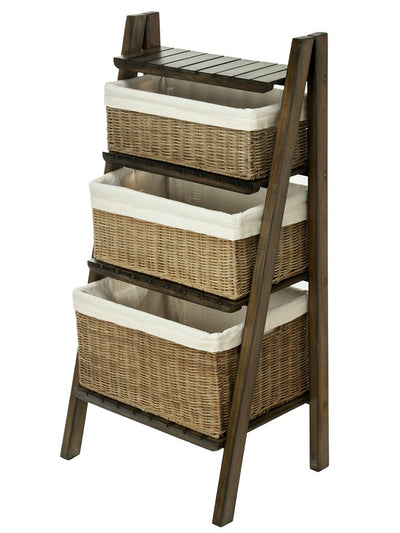 Ladder Shelving Unit with Wicker Baskets