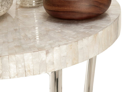 Mosaic Side Table in Capiz Seashell