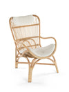 Rattan Loop Lounge Chair with Seat and Head Cushion