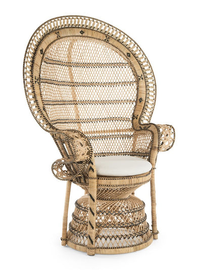 Retro Peacock Chair in Rattan, Natural and Black Color