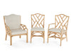 Rattan Chippendale Lounge Chair with Seat Back Cushion
