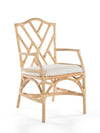 Rattan Chippendale Upholstered Dining Armchair, Set of 2 Chairs