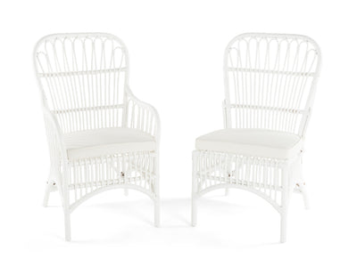 Rattan Loop Side Chair with Seat Cushion, Natural Color, Set of 2 Chairs