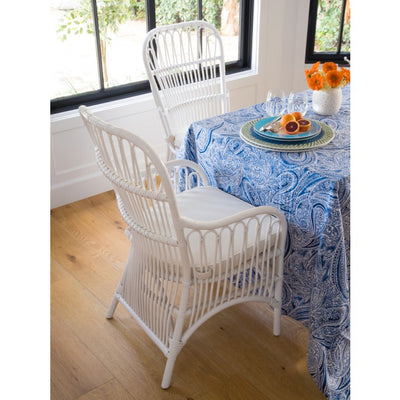 Rattan Loop Armchair with Seat Cushion, Set of 2 Chairs