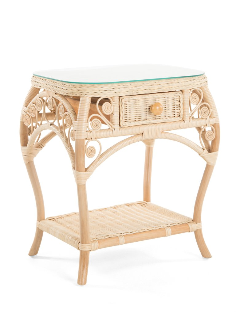 Peacock Rattan Side Table With Drawer And Glass Top