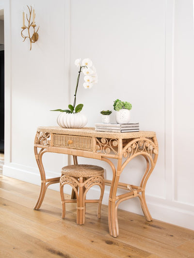 Peacock Rattan Dressing Table with Glass Top
