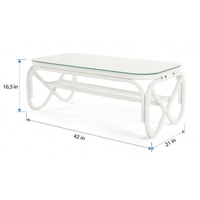 Rectangular Rattan Coffee Table with Glass Top