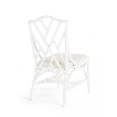 Rattan Chippendale Upholstered Dining Chair, Set of 2 Chairs