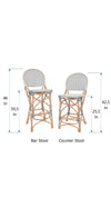 Rattan Bistro Bar Chair, White and Blue