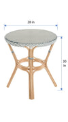 Round Rattan Bistro Table, White and Blue