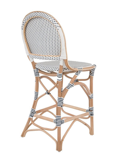 Rattan Bistro Counter Chair, White and Blue