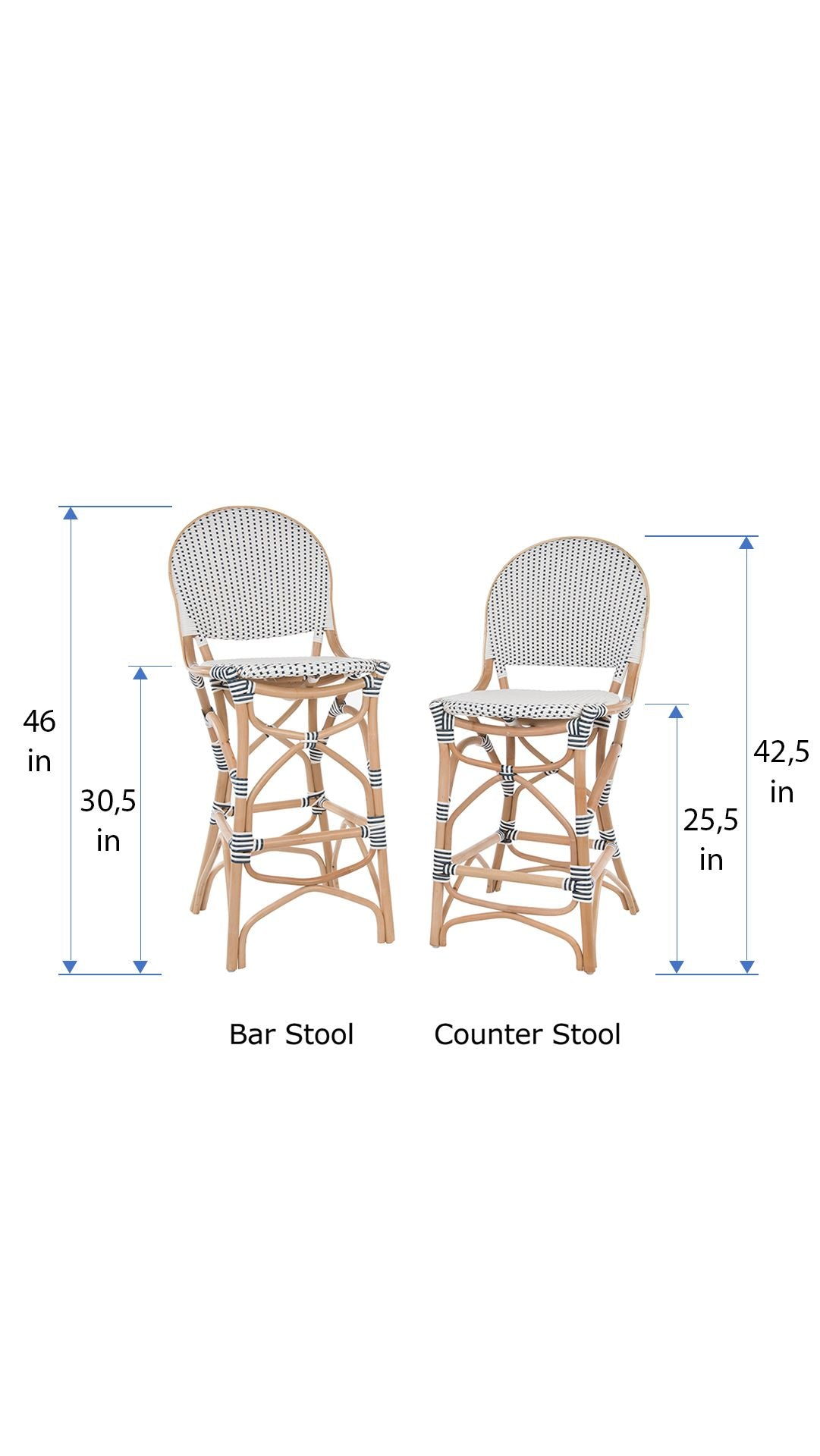 Rattan Bistro Counter Chair White And Blue