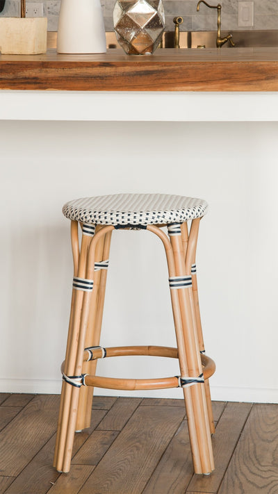 Bistro Backless Bar Stool, White and Blue