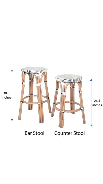 White and Blue KOUBOO 1110087 Bistro Backless Counter Stool