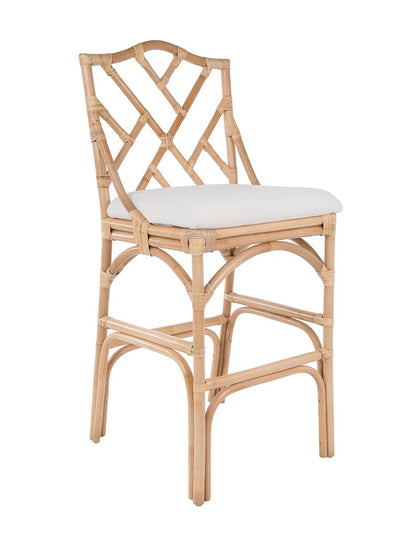 Chippendale Rattan Barstool, Natural Color and Off-White Upholstery