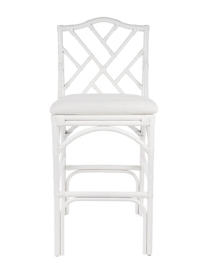 Chippendale Rattan Barstool, White and Off-White Upholstery