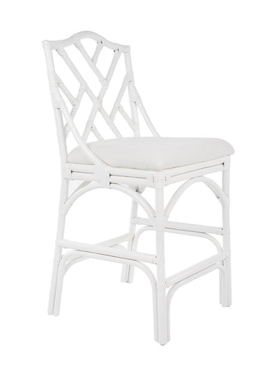 Chippendale Rattan Counter Stool, White and Off-White Upholstery