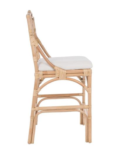 Chippendale Rattan Counter Stool, Natural and Off-White Upholstery