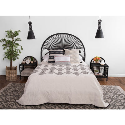 Rattan Loop Headboard, Black