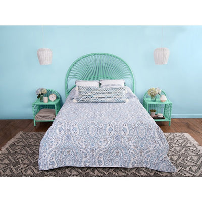 Rattan Loop Headboard, Mint