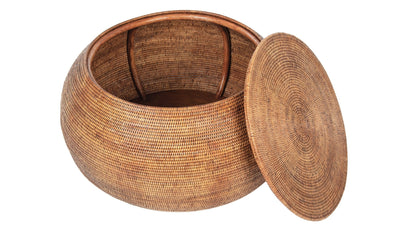 La Jolla Round Rattan Storage Coffee Table