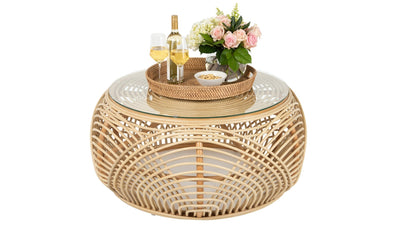 Sibago Rattan Coffee Table with Glass Top, Natural Color