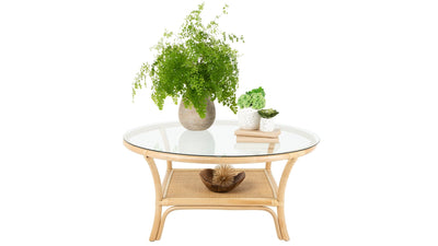 Visayas Rattan Coffee Table with Glass Top, Natural Color