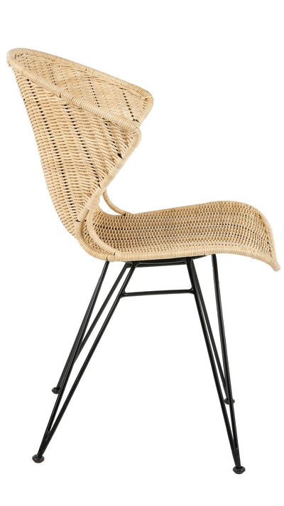 Jaro Rattan Dining Chair with Metal Legs, Natural Color & Black, Set of 2 Chairs