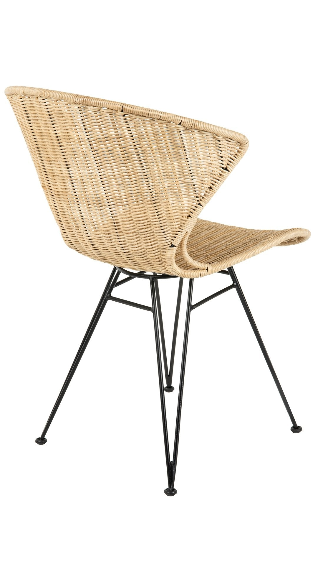 Jaro Rattan Dining Chair with Metal Legs, Natural Color ...