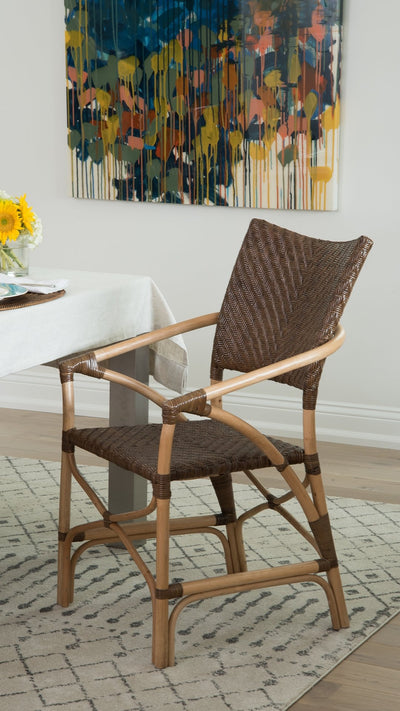 Kandi Rattan Dining Arm Chair, Brown, Set of 2 Chairs