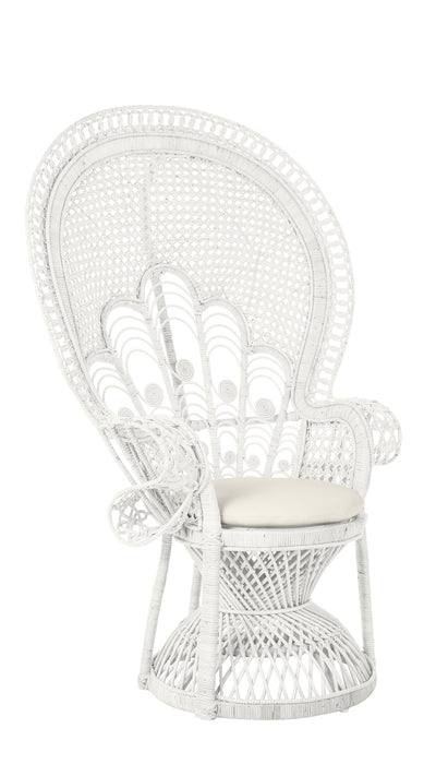 Lady Peacock Chair in Rattan with Seat Cushion