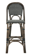 Rattan Bistro Bar Stool, Antique Brown with Black & White Weave