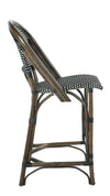 Rattan Bistro Counter Stool, Antique Brown with Black & White Weave