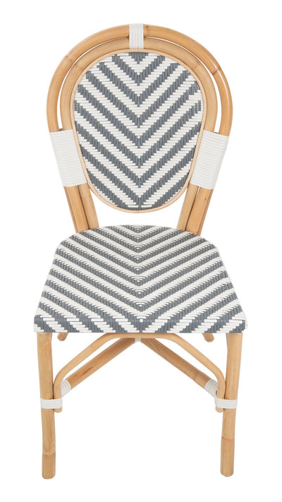 Rattan Bistro Dining Side Chair Chevron, White and Gray, Set of 2 Pieces