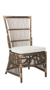 Rattan Loop Edge Side Chair with Seat Cushion, Antique Brown, Set of 2 Chairs