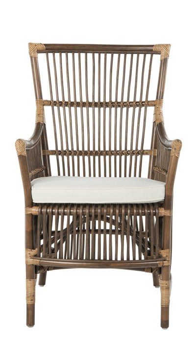 Rattan Loop Edge Arm Chair with Seat Cushion, Antique Brown, Set of 2 Chairs