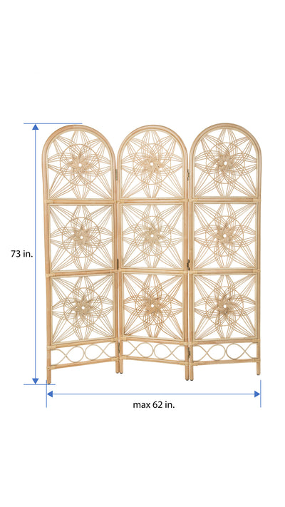 Sunflower Rattan 3-Panel Room Divider, 62 Inches Total Width