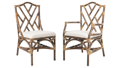Rattan Chippendale Upholstered Dining Armchair, Antique Brown, Set of 2 Chairs