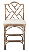 Chippendale Rattan Counter Stool, Antique Brown and Off-White Upholstery