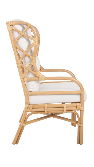 Rattan Chippendale Wingback Lounge Chair with Cushions, Natural
