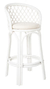 Rattan Criss-Cross Bar Stool, White