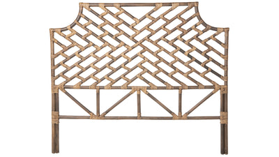 Rattan Chippendale Headboard, Antique Brown