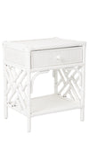 Rattan Chippendale Bedside Table, White