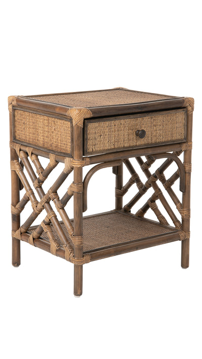 Rattan Chippendale Bedside Table, Antique Brown
