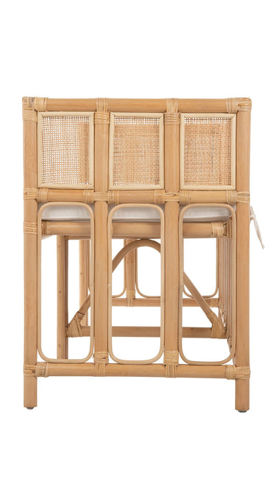 Rattan Ventana Bench with Seat Cushion, Natural